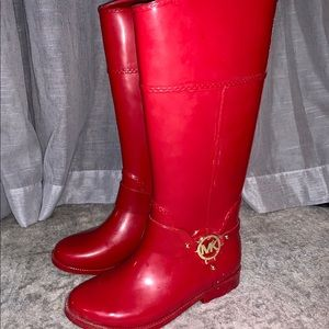 Michael Kors Red Rubber Rain Boots